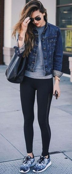 Workout complete… ready for my reward Grey top – black leggings – denim jacket – black tote bag – sneakers Image source