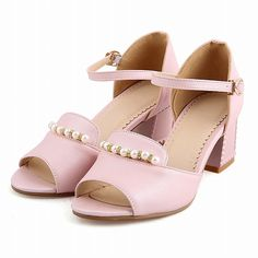 Show Shine Women's Fashion Buckle Beaded Peep Toe Mid Chunky Heel Sandals *** To view further for this item, visit the image link.