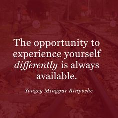 """The opportunity to experience yourself differently is always available."" — Yongey Mingyur Rinpoche"