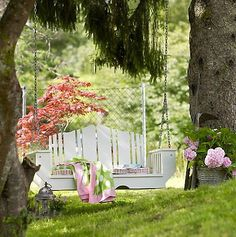 I want a relaxing atmosphere in the backyard, when I've got some pretty big plans and I started thinking getting it next week. One of my choice fell on swing set for porch furniture or backyard fun Outdoor Spaces, Outdoor Living, Outdoor Decor, Home Tumblr, Dream Garden, Home And Garden, Gazebo, My Secret Garden, My Dream Home
