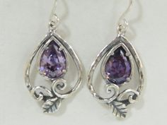 SHABLOOL earrings ,sterling Silver 925 drop Earrings with lavender cz from israel e1850