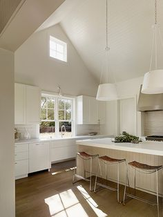 {lutz} white kitchen cathedral ceiling