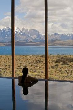 The amazing view from the pool at Tierra Patagonia Hotel & Spa