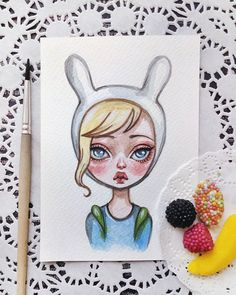 Fionna Already available in my Etsy Link in profile #advanturetime #fionna #postcard #illustration #etsy #watercolorart
