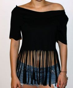 T Shirt Cutting Ideas   DIY: Fringe T-shirt : Cheap Chic Obsession