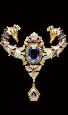 Renaissance Revival Sapphire, Diamond, and Enamel Brooch - Gustave Espinasse, c. 1900.