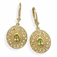 18K Gold Plated Brass Peridot Fashion Earrings Silverbox Jewelry Co. $19.32. Save 33% Off!