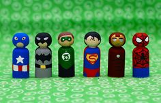 Superhero wooden peg dolls - Liz Montgomery this one is for you!