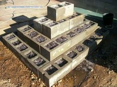 cement block strawberry pyramid