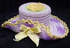 We are offering a great old hand crocheted Easter Bonnet/hat. Great Easter colors and just a fine piece of work. We think this may be a pin cushion but there is no stuffing in the hat so ??? | eBay!