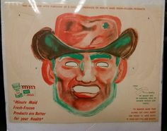"""It was made in the 1960's and is MINT and UNUSED! I acquired it on a backer board and have not opened it. The back board has some creasing to it, but the mask is MINT! """"Minute Maid Fresh-Frozen Products are Better for your Health"""". 