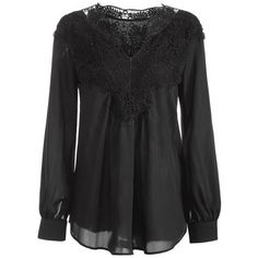 Long Sleeve Crochet Detail Blouse (790 RUB) ❤ liked on Polyvore featuring tops, blouses, crochet detail top, long sleeve tops and long sleeve blouse