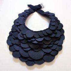 DIY Black Scales Bib Necklace Choker Collar.