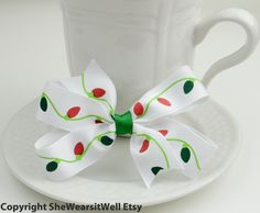 Christmas Lights Hair Bow for Girls Holiday Hair by SheWearsitWell, $4.50