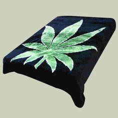 Amazon.com - Super Soft Luxury Plush Queen Size Mink Blanket - Green Marijuana Pot Leaf On Solid Black Background (Leaf) - Bed Blankets