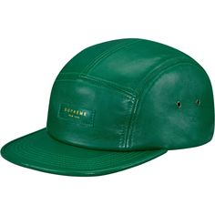 Supreme: Leather Camp Cap - Kelly Green
