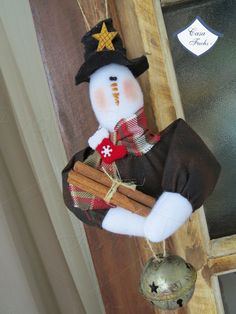 Pingente para árvore de Natal Boneco de Neve Primitivo