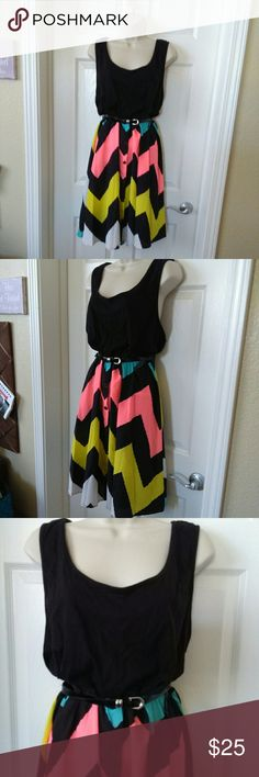 """Extra Touch Dress.          """"NWT"""" Pretty dress, bright and cheery!  Tank like top with flowy Chevron chiffon stripe's.  Size 3x. Black faux buttons down front of skirt,. Black patent leather belt attached.  Cute for Spring and Easter. Extra Touch Dresses Mini"""