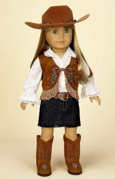 "Cowgirl Outfit with Denim Skirt. Complete Outfit. Fits 18"" Dolls Like American Girl® by Doll Factory, http://www.amazon.com/dp/B002MNBLCE/ref=cm_sw_r_pi_dp_LYybrb1ADMYP4"