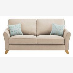 jasmine large sofa in cosmo fabric mink with bamboo aqua scatters - Large Sofas