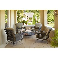 Relax on your outdoor porch or patio in style with this Hampton Bay Lynnfield 5-Piece Patio Chat Set-HD14500 - The Home Depot.