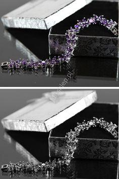 Silver plated bracelets. Swarovski crystals bracelets: light purple, white. Bransoletka fioletowe kryształki  Swarovskiego , silver plated | dla alergików 3 kolory