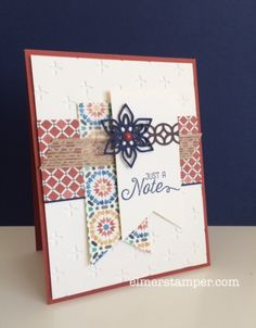 by Kristin: Flourishing Phrases bundle, Moroccan dsp, Sparkle embossing folder, Banner Triple punch, Burlap Ribbon - all from Stampin' Up!