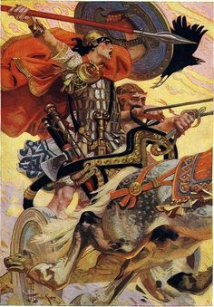 Cuchulain Rides his Chariot into Battle by J C  Leyendecker.