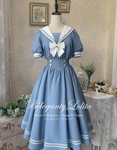 Beleganty Lolita 【-A Sailor's Dream-】 #SailorLolita OP Dress (Ready in Stock, Quick Delivery)  Old Fashion Dresses, Lolita Cosplay, Kawaii Clothes, Kawaii Cute, Lolita Dress, Fasion, Makeup Inspiration, Sailor, Cool Outfits