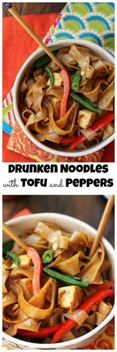 Thai take-out at home is easy when these spicy salty delicious drunken noodles with tofu and peppers are on the menu! {vegan}