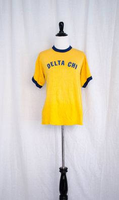Vintage 1970's 'Animal House' Maize And Blue Fraternity Ringer Tee Size M / L by BeehausVintage on Etsy