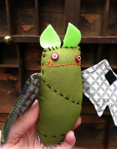 Creepy cute stuffed monster bat Frankenbat  by blackwoodcottage