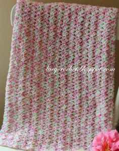 Tiny Tulips Baby Blanket.  Free Pattern but please read designer's requirements about posting and/or selling items created using this pattern!