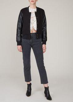 London College Of Fashion, Black Bomber Jacket, Ruffle Shirt, Mini Crossbody Bag, Black Dots, Denim Fabric, Black Denim, Vegan Leather, Normcore