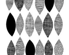 Black Leaves is based on my textural drawings of leaf shapes, and is a monochrome version of my Spring Sampler print. The emphasis is very much Textile Patterns, Textile Design, Print Patterns, Black And White Abstract, White Art, Motif Vintage, Photocollage, Black Leaves, Pattern Drawing