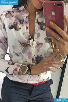 Floral Print Button Design Long Sleeve Blouse