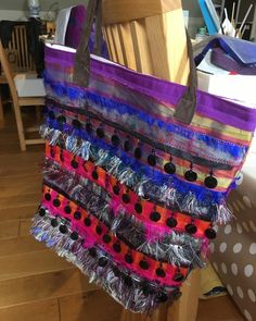 I had a mad half hour and made a hippy dippy tote bag. All upcycled fabrics and trims!