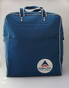 dd74f4f0c2 Vintage 1980s Royal Blue Nylon Delta Airlines Travel Bag by reformdept