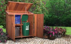 Outdoor enviro recycling storage - would have to modify for wheeled bins Wood Storage Sheds, Storage Bins, Diy Storage, Outdoor Storage, Storage Solutions, Storage Systems, Storage Ideas, Recycling Storage, Garbage Recycling
