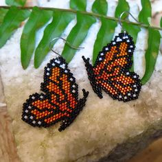 Monarch Butterfly Earrings / Beaded Butterfly Theme / Delica Seed Beads Sterling Silver, Butterfly Jewelry Gifts for Her / Butterfly Wedding Seed Bead Jewelry, Seed Beads, Beaded Jewelry, Peyote Beading, Beadwork, Butterfly Jewelry, Beaded Animals, Beads And Wire, How To Make Beads