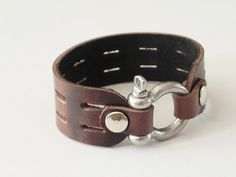Brown Leather Cuff Leather Bracelet with Stainless by BeadSiam