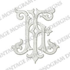 FH monogram or HF monogram - vintage monogram scanned from antique book and provided in digital format.