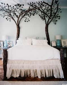 Great bed, thought of this bed as a four poster bed and then weave lights through the branches or light fabric to give fairy tail feel. LOVE THIS!