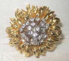 Vintage Signed ERWIN PEARL Gold Tone Flower Rhinestone Brooch Pin #ErwinPearl
