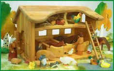 Farm Stable Set includes: Large Stable,cow standing, calf running, pig, piglet, horse, foal, rooster, chicken on the nest, chicken pecking, & 5 chicks & cat.