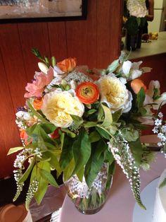 Mixed flower bouquet. Summer wedding. Peony.