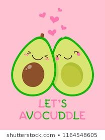"""Cute couple avocado cartoon illustration with text """"Let's avocuddle"""" for valentine's day card design. Pig Nails, Romantic Gifts For Boyfriend, Avocado Cartoon, Cute Country Girl, Dessert Illustration, Cute Avocado, Cute Desserts, Bronze, Cartoon Drawings"""