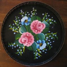 Decorative Dishes - Vintage Black Metal Roses Toleware Painted Tray, $24.99 (http://www.decorativedishes.net/vintage-black-metal-roses-toleware-painted-tray/)