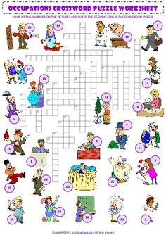 jobs - crosswords - page 1 in 2 English Games, English Resources, English Activities, English Class, English Lessons, Teaching English, English For Beginners, Improve English, Learn English