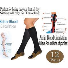 d41540e398 Used Premium New Copper Infused Compression Socks Knee High Anti Odor  Nursing Compression Socks, Black
